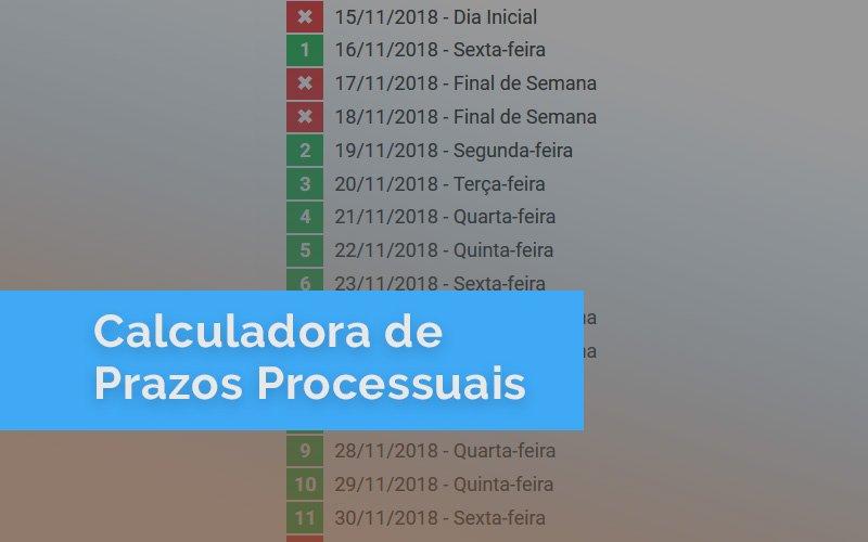 Calculadora de prazos processuais adaptada ao novo CPC
