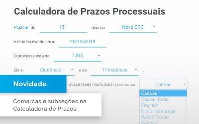Novas comarcas na Calculadora de Prazos Processuais
